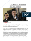 China's Xi amasses power to tackle grim challenges