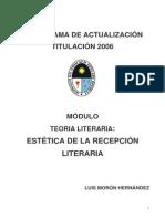 Estética de la recepción literaria. Luis Morón Hernández