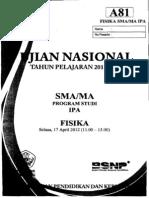 Naskah Soal UN Fisika SMA 2012 Paket A81