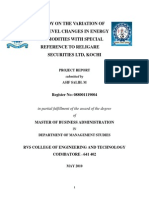 A Study on the Variation of Price Level Changes in Energy Commodities With Special Reference to Religare Securities Ltd., Kochi
