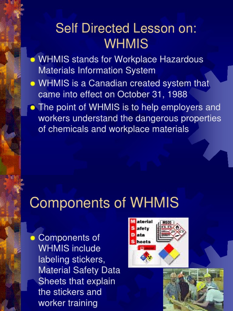 Whmis Self Directed Lesson Powerpoint Combustion Dangerous Goods