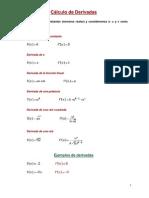 Cálculo, derivadasFÓRMULAS