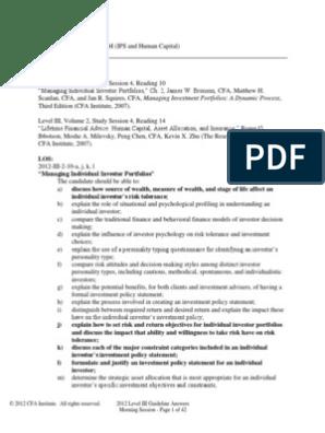 Cfa Level 3 2012 Guideline Answers Investor Investing