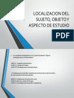 Localizacion Del Sujeto, Objeto y Aspecto De