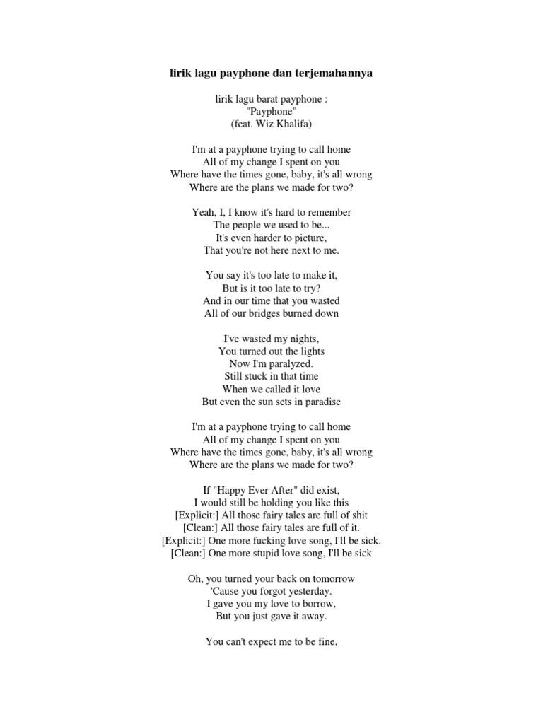 Lirik Lagu Payphone Dan Terjemahannya