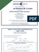 Hudson Valley for Cuomo Reception invite.