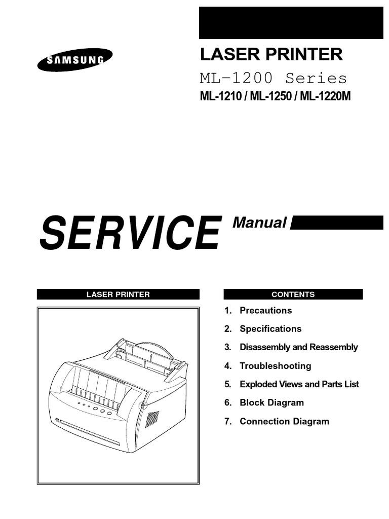 samsung ml 1200 series ml 1210 ml 1250 ml 1220m laser printer service repair manual