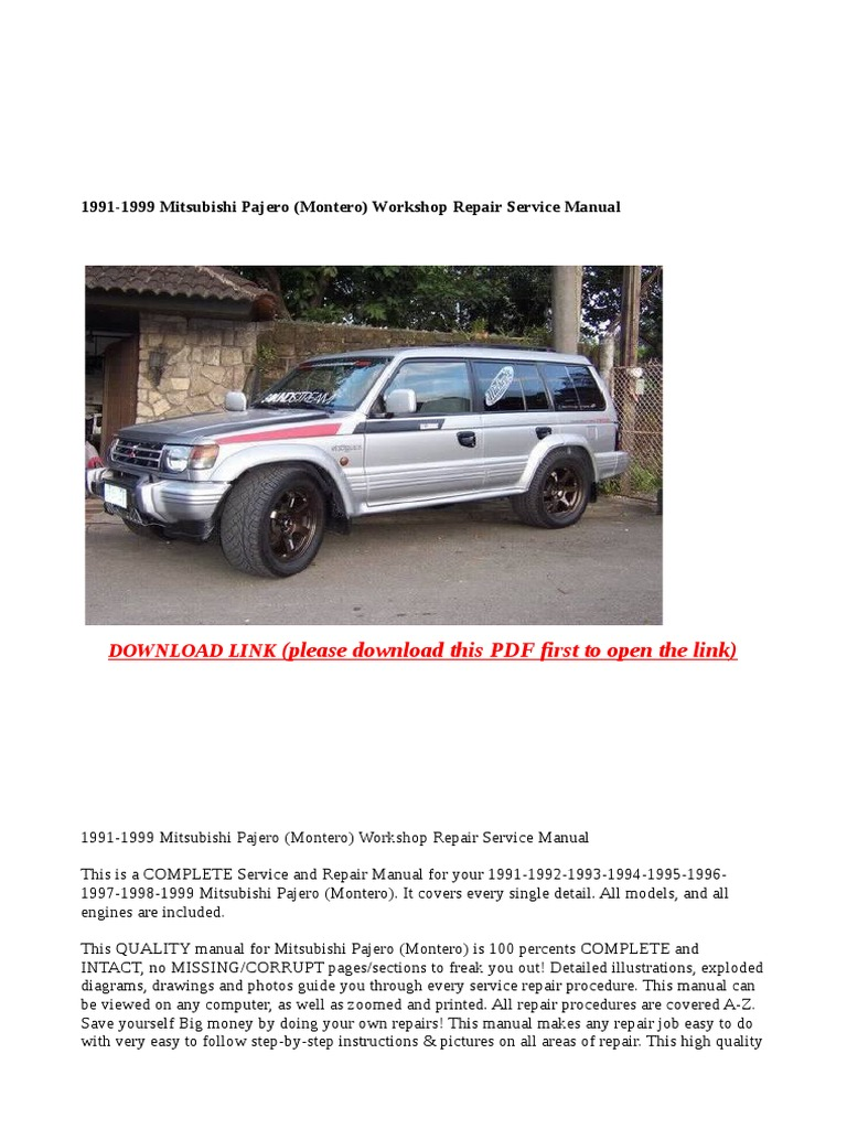 1991-1999 Mitsubishi Pajero (Montero) Workshop Repair Service Manual   Off  Road Vehicles