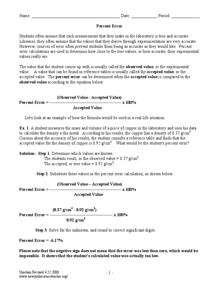 worksheet. Percent Error Worksheet. Grass Fedjp Worksheet Study Site