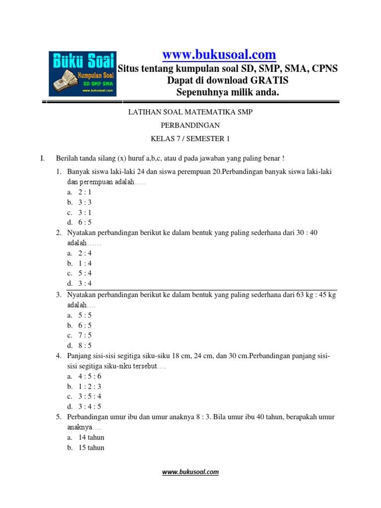 6 Latihan Soal Matematika Perbandingan Smp