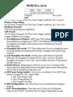March 2, 2014 Bulletin