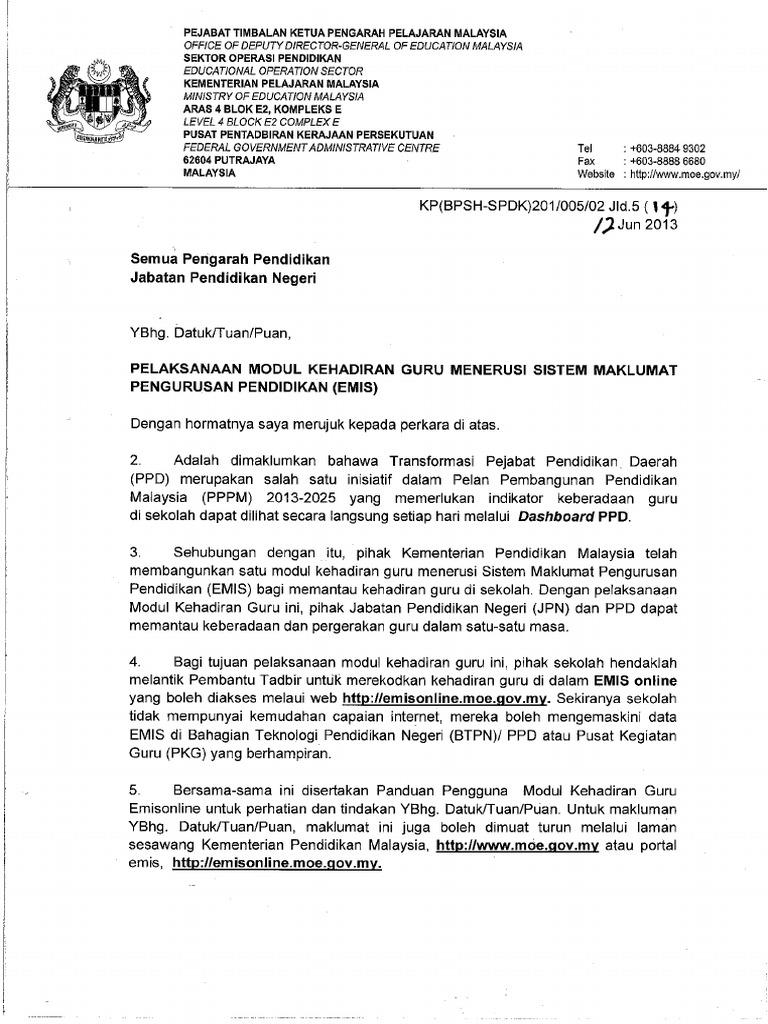 Surat Pelaksanaan Modul Kehadiran Guru Menerusi Emis