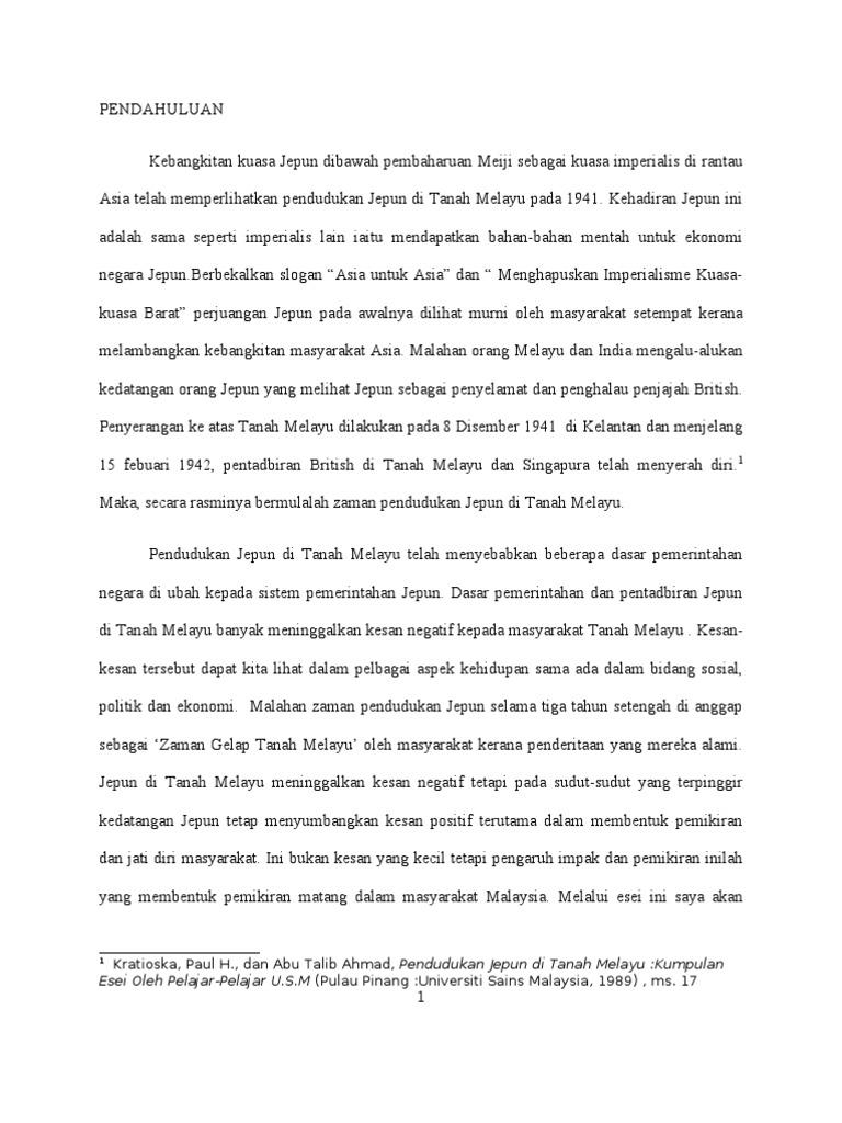 Kesan Pendudukan Jepun Di Malaysia