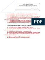 1.9 - Discurso direto e discurso indireto - Ficha de Trabalho (1) - Soluções