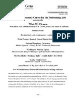 Highlights Release - Kennedy Center Announces 2014-2015 Season