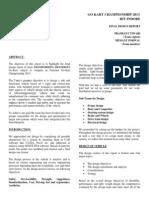 GO KART Design Report pdf   Steering   Transmission (Mechanics)
