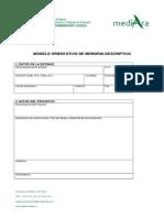 Modelo Memoria Descriptiva Proyecto Piloto