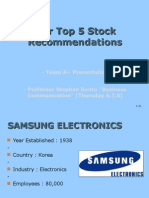 Our Top 5 Stock Recommendations