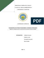 Conversion Estados Fianacieros a Moneda Extranjera