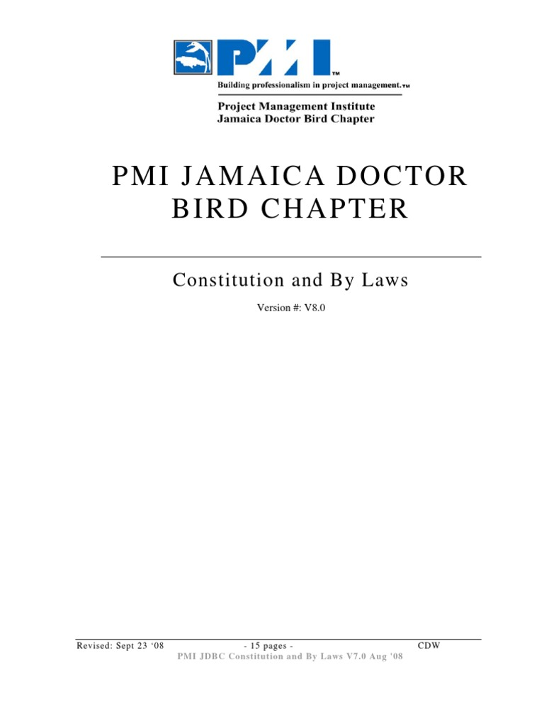 Pmi Jdbc Constitution And By Laws Board Of Directors Committee