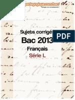 Bac 2013 Metropole Sujets Corriges Francais Serie l