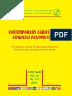ContemporaryAgriculture, Vol. 62, No. 1-2, 2013.