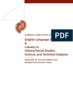 Common Core English Language Arts Appendix B Text Exemplars and Sample Performance Tasks
