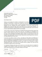 Premier Alison Redford's letter to Finance Minister Doug Horner