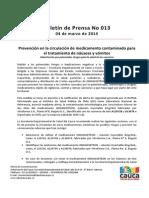 Boletin 013_ Prevención en la circulación de medicamento contaminado para el tratamiento de náuseas y vómitos