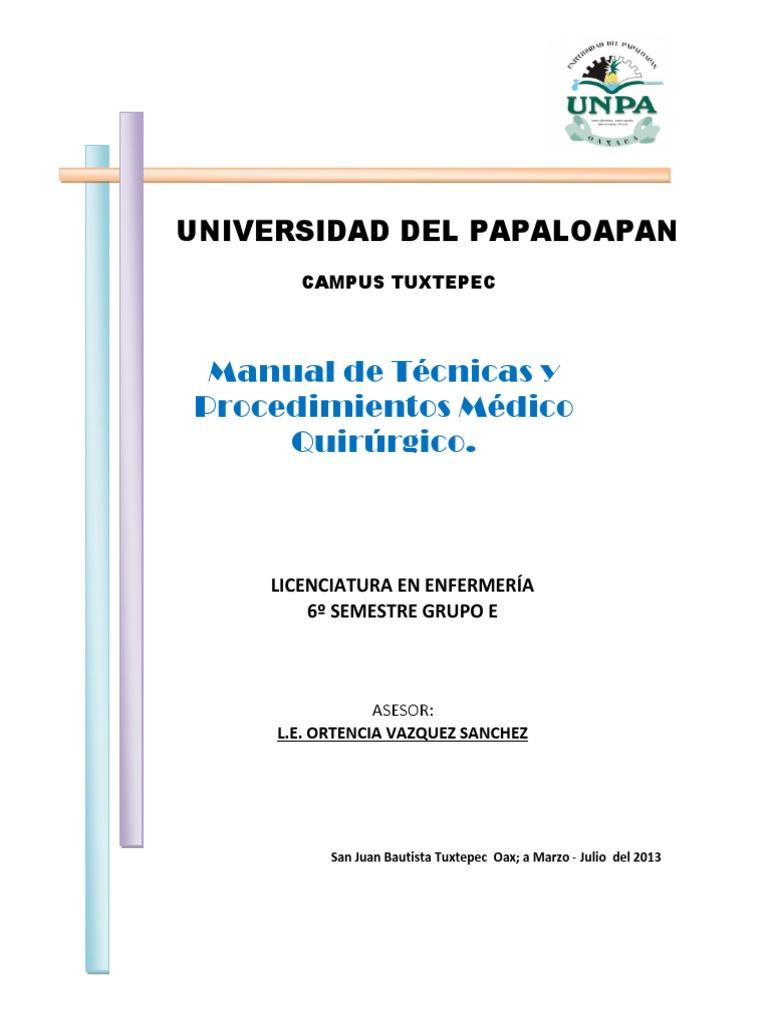 Circuito Quirurgico : Manual de tecnicas y procedimientos medico quirurgico sexto e