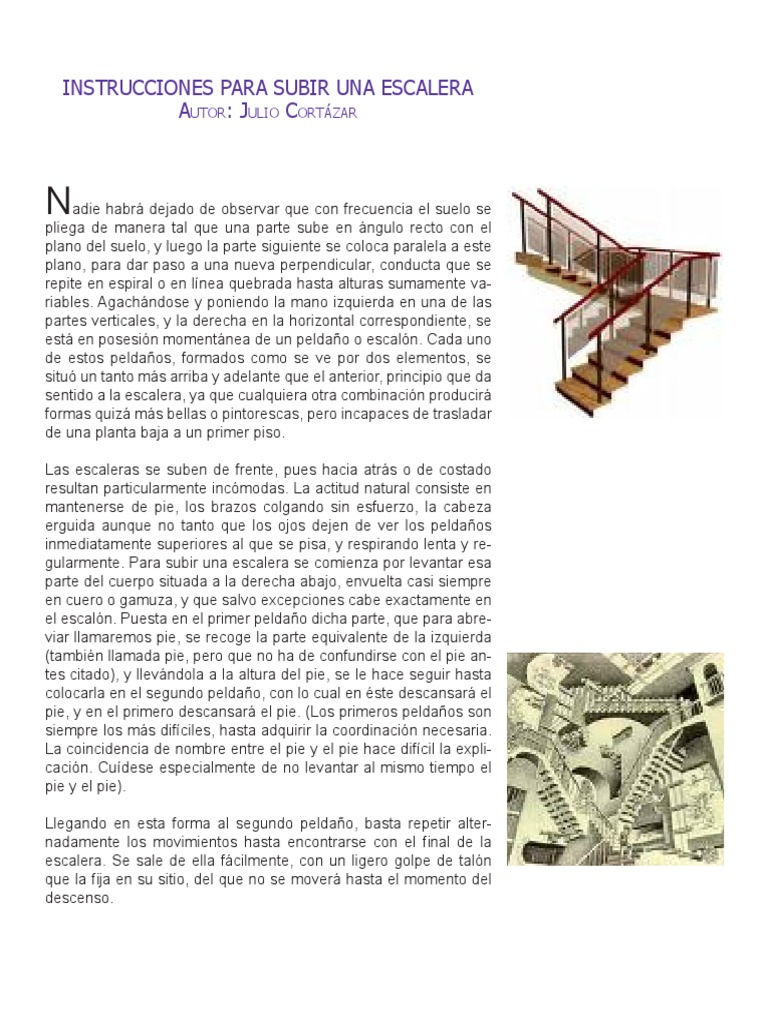Instrucciones Para Subir Una Escalera Autor Julio Cortázar Pie Algoritmos