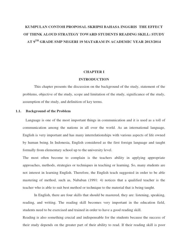 Kumpulan Contoh Proposal Skripsi Bahasa Inggris Docx Reading