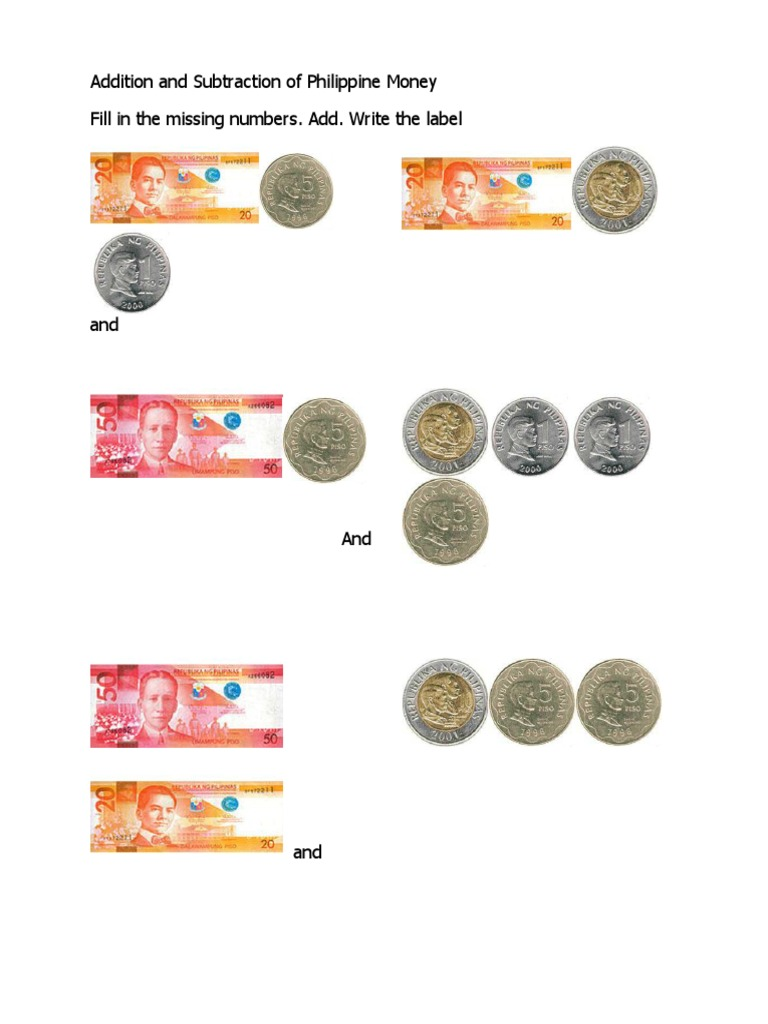 worksheet Counting Bills And Coins Worksheet addition and subtraction of philippine money coins pesos