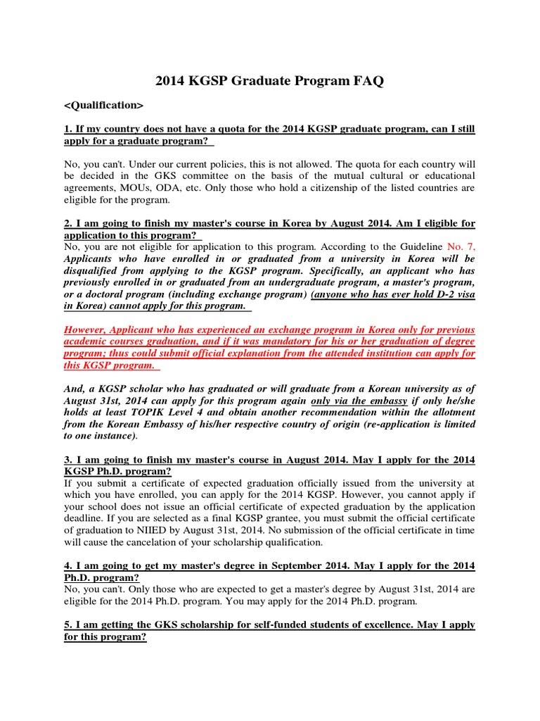 2014 KGSP Graduate Program FAQ 2 | University And College Admission