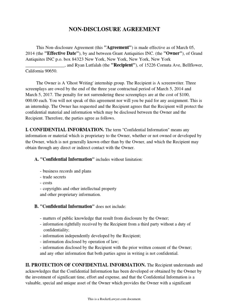 My Non Disclosure Agreement Indemnity Confidentiality