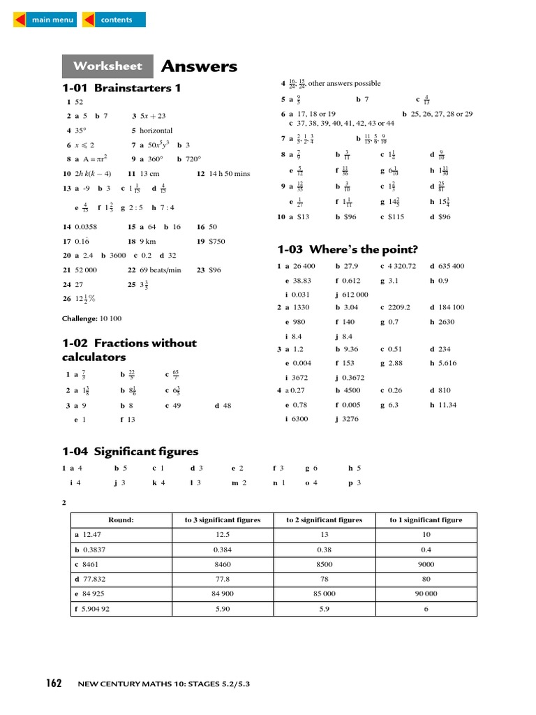 WORKSHEET ANSWERS FOR NEW CENTURY MATHS | Rectangle | Euclidean Geometry