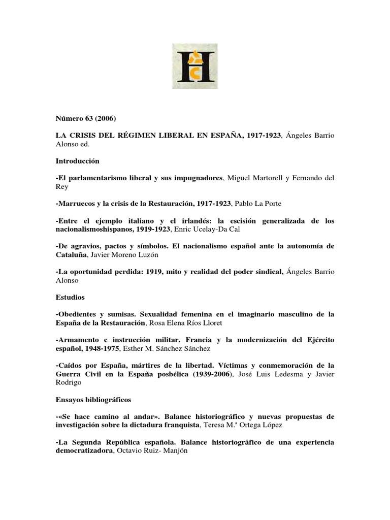La crisis del régiment liberal en España (1917-1923)