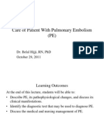 Care of Patient With Pulmonary Embolism