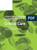 Patient Blood Management Guidelines Critical Care Quick Reference Guide