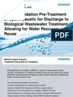 Wet Air Oxidation Pre Treatment of Spent Caustic for Discharge to Biological Wastewater Treatment Allowing for Water Recovery and Reuse