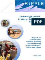 Technology Choice in Water Supply and Sanitation; collaborative study between Kenya, Ethiopia and Sudan