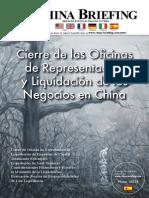 Cierre de las Oficinas de Representacion y Liquidacion de os Negocios en China