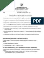 introdução a pensamento filosofico II