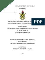 PREVALENCE OF MALARIA IN GHANA
