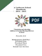 Zion Lutheran School Handbook 2014-15