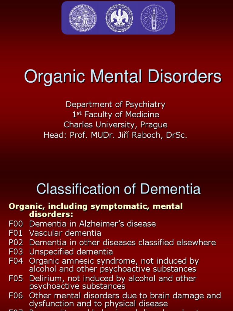 Organic Mental Disorders | Dementia | Alzheimer's Disease
