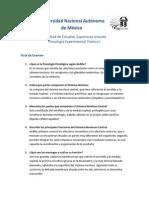 Psicología Experimental Teórica I - Guia de examen - cuestionario fisiologia