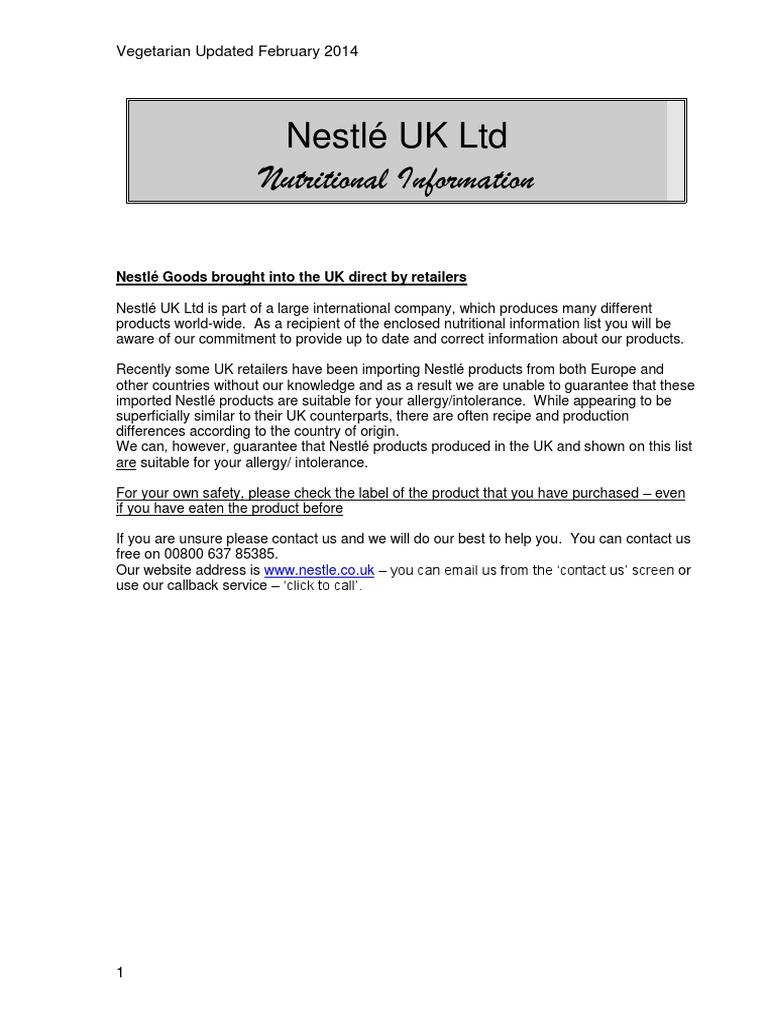 Vegetarian Avoidance List | Milkshake | Nestlé