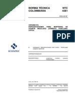 NTC 4381 Esps Morteros de Ligante Mezclado (Cemento Portland - Latex) Baldosas Cerámicas(1)