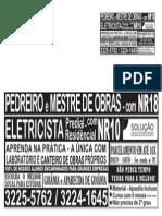 ANUNCIO PEDREIRO - MESTRE DE OBRAS - FEVEREIRO 2014 - LABORATÓRIO